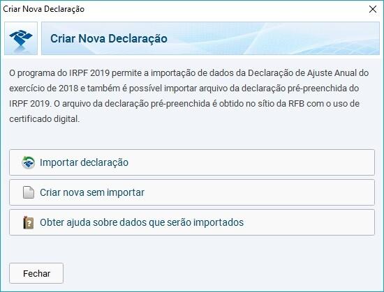 criar nova declaracao irpf 2019